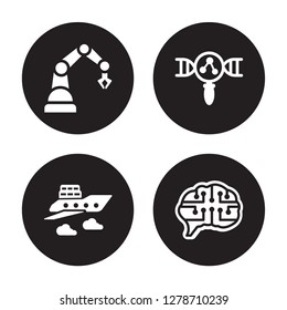 4 vector icon set : Industrial robot, fyling Vehicle, Genetic modification, future Brain isolated on black background