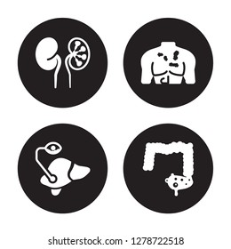 4 vector icon set : Iron-deficiency anemia, Interstitial cystitis, Iritis, Influenza isolated on black background