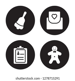 4 vector icon set : Jingle bell, Guest list, Invitation, Gingerbread man isolated on black background