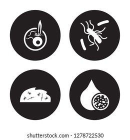4 vector icon set : Leprosy, Legionellosis, Leishmaniasis, Lead poisoning isolated on black background