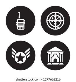 4 vector icon set : Militar Radio, In, Radar, antique building isolated on black background