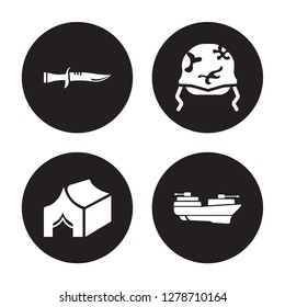 4 vector icon set : Military Knife, Militar Tent, Helmet, militar ship isolated on black background