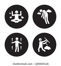 4 vector icon set : motivated human, meh miserable mad human isolated on black background