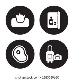 4 vector icon set : Napkins, Meat, Minibar, Luggage isolated on black background