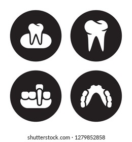 4 vector icon set : Occlusal, Overdenture, Oral, Partial Denture isolated on black background