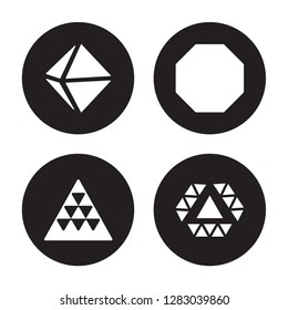 4 vector icon set : Octahedron, Multiple triangles triangle, Octagon, inside hexagon isolated on black background
