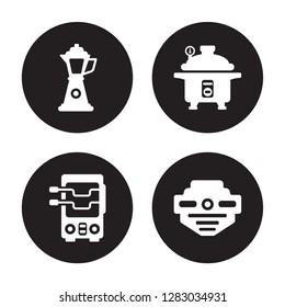 4 vector icon set : percolator, rotisserie, pressure cooker, smoke detector isolated on black background