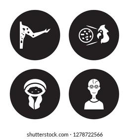 4 vector icon set : Peritonitis, Pelvic inflammatory disease, Periodontal Parkinson's disease isolated on black background