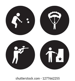 4 vector icon set : Petanque, Paintball, Parachuting, Pachinko isolated on black background
