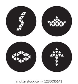 4 vector icon set : Polygonal buildings of small triangles, ascendant, boat arrow up isolated on black background