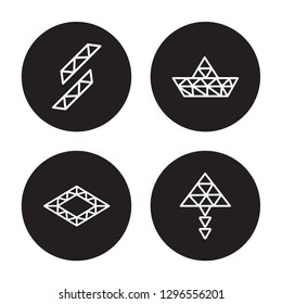 4 vector icon set : Polygonal buildings of small triangles, Polygonal ascendant isolated on black background,  Polygonal buildings of small triangles, Polygonal ascendant outline icons