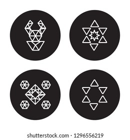 4 vector icon set : Polygonal ornamental shape of triangles, Polygonal ornament isolated on black background,  Polygonal ornamental shape of triangles, Polygonal ornament outline icons
