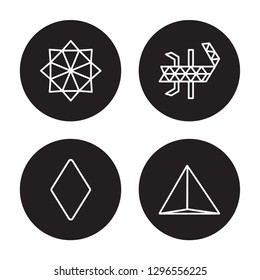 4 vector icon set : Polygonal star of six points, Polygonal rhomb isolated on black background,  Polygonal star of six points, Polygonal rhomb outline icons