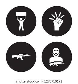 4 vector icon set : Revolt, Kalashnikov, Revolution, Terrorist isolated on black background