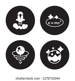 4 vector icon set : Rocket launch, Quasar, Relativity, Pluto isolated on black background
