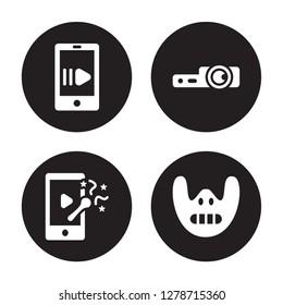 4 vector icon set : slow motion, slapstick, slide projector, Silence isolated on black background