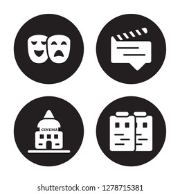 4 vector icon set : Theatre, studio, subtitle, Storyboard isolated on black background