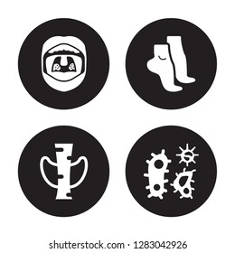 4 vector icon set : Tonsil, Thyroid, Tiptoe feet, Three Bacteria isolated on black background