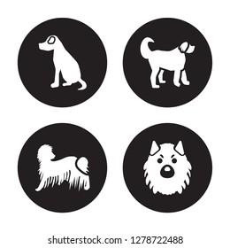 4 vector icon set : Vizsla dog, Komondor Labradoodle Keeshond dog isolated on black background