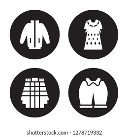 4 vector icon set : windbreaker, Kilt, Kaftan, Knickers isolated on black background