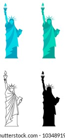 4 vector illustration for Statue of Liberty in New York City.