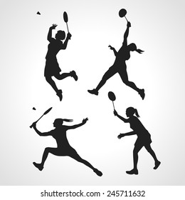 4 vector Silhouettes of women professional badminton players