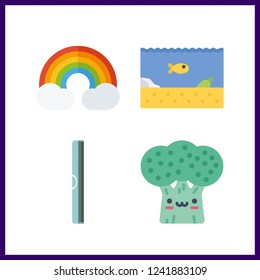 4 vibrant icon. Vector illustration vibrant set. rainbow and ruller icons for vibrant works