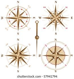 4 vintage compasses