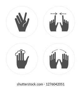 4 Vulcan salute, Tap, Swipe, Rotate modern icons on round shapes, vector illustration, eps10, trendy icon set.