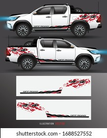 4 wheel drive truck and car graphic vector. abstract lines design for vehicle vinyl