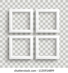 4 white frame on the checked background. Eps 10 vector file. - Shutterstock ID 1135914899
