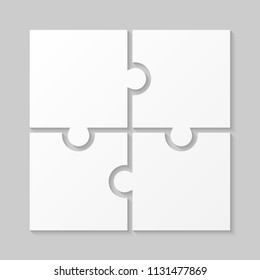 4 White Puzzle Pieces - JigSaw. Vector Illustration Puzzle for Web Design. Vector Object Shape. Business Presentation. Information Design. Puzzles Pieces. 4 Pieces for Infographics.