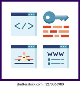 4 www icon. Vector illustration www set. browser and keywords icons for www works