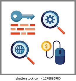 4 www icon. Vector illustration www set. pay per click and keywords icons for www works