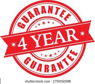 4 Year guarantee stamp vector logo images, Guarantee vector stock photos, Guarantee vector illustration of logo