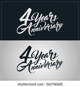 4 years anniversary celebration logotype, hand lettering