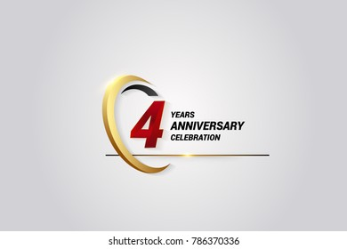 4 Years Anniversary Celebration Logotype. Red Elegant Vector Illustration with Gold Swoosh, Isolated on Black Background can be use for Celebration, Invitation, and Greeting card
