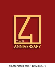 4 years anniversary design logotype golden color in square isolated on red background for celebration event