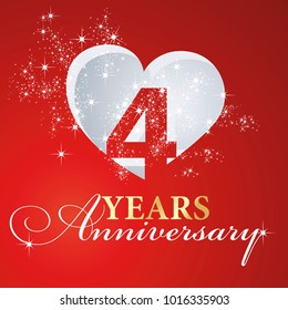 4 years anniversary firework heart red greeting card icon logo