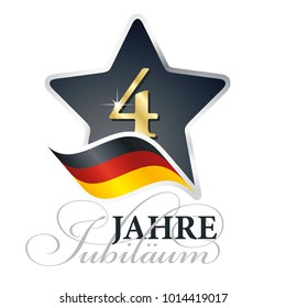 4 years anniversary (German language - 4 Jahre Jubiläum) isolated black star flag logo icon