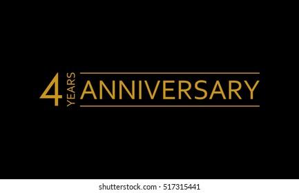 4 years anniversary icon. 4th birthday emblem. Anniversary design element. Vector illustration.