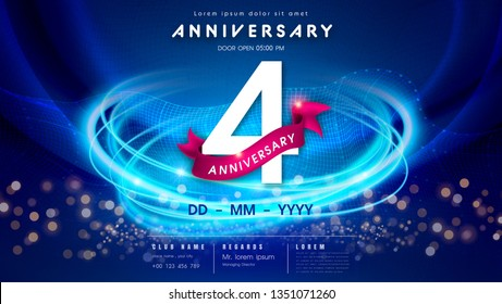 4 years anniversary logo template on dark blue Abstract futuristic space background. 4th modern technology design celebrating numbers with Hi-tech network digital technology concept design elements.