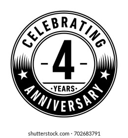 4 years anniversary logo. Vector and illustration.
