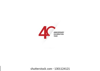 40 anniversaries, minimalist logo. Tenth years, 40th jubilee, greeting card. Birthday invitation. 40 year sign. Red space vector illustration on white background - Vector