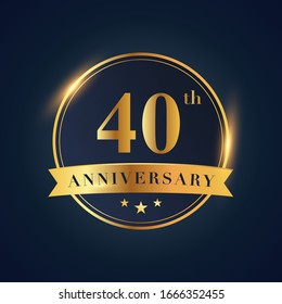 40 anniversary celebration logotype. Golden colored isolated on black blue background, vector design for greeting card and invitation card and celebration event