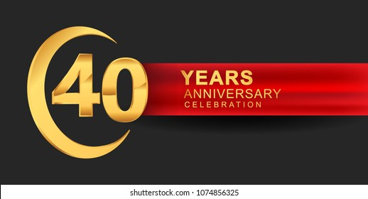 40 anniversary design logotype golden color with ring and red ribbon for anniversary celebration