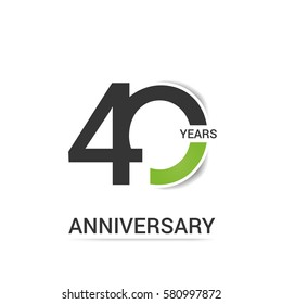 40 Anniversary  Logo Celebration, Black and Green Flat Design Isolated on White Background