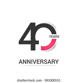40 Anniversary  Logo Celebration, Black and Pink Flat Design Isolated on White Background