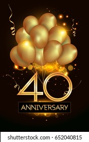 40 Anniversary Logo Celebration with Golden balloon and confetti, Isolated on dark Background