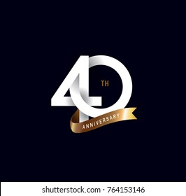 40 anniversary logo with gold ribbon. template design for web, game ,Creative poster, booklet, leaflet, flyer, magazine, invitation card